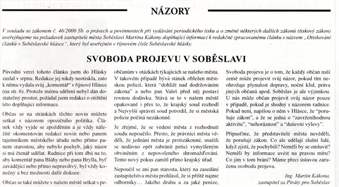 Hláska: Svoboda projevu v Soběslavi