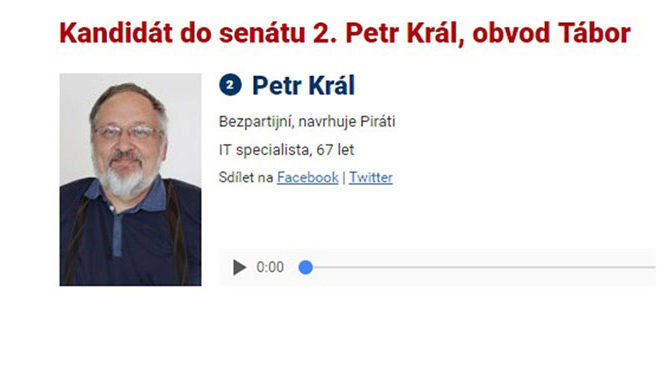 Kandidát do senátu Ing. Petr Král pro Český rozhlas