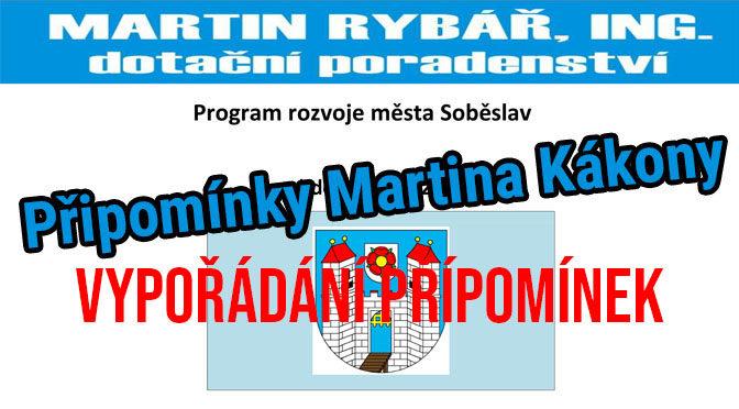 Program rozvoje města Soběslav – vypořádání připomínek Martin Kákona